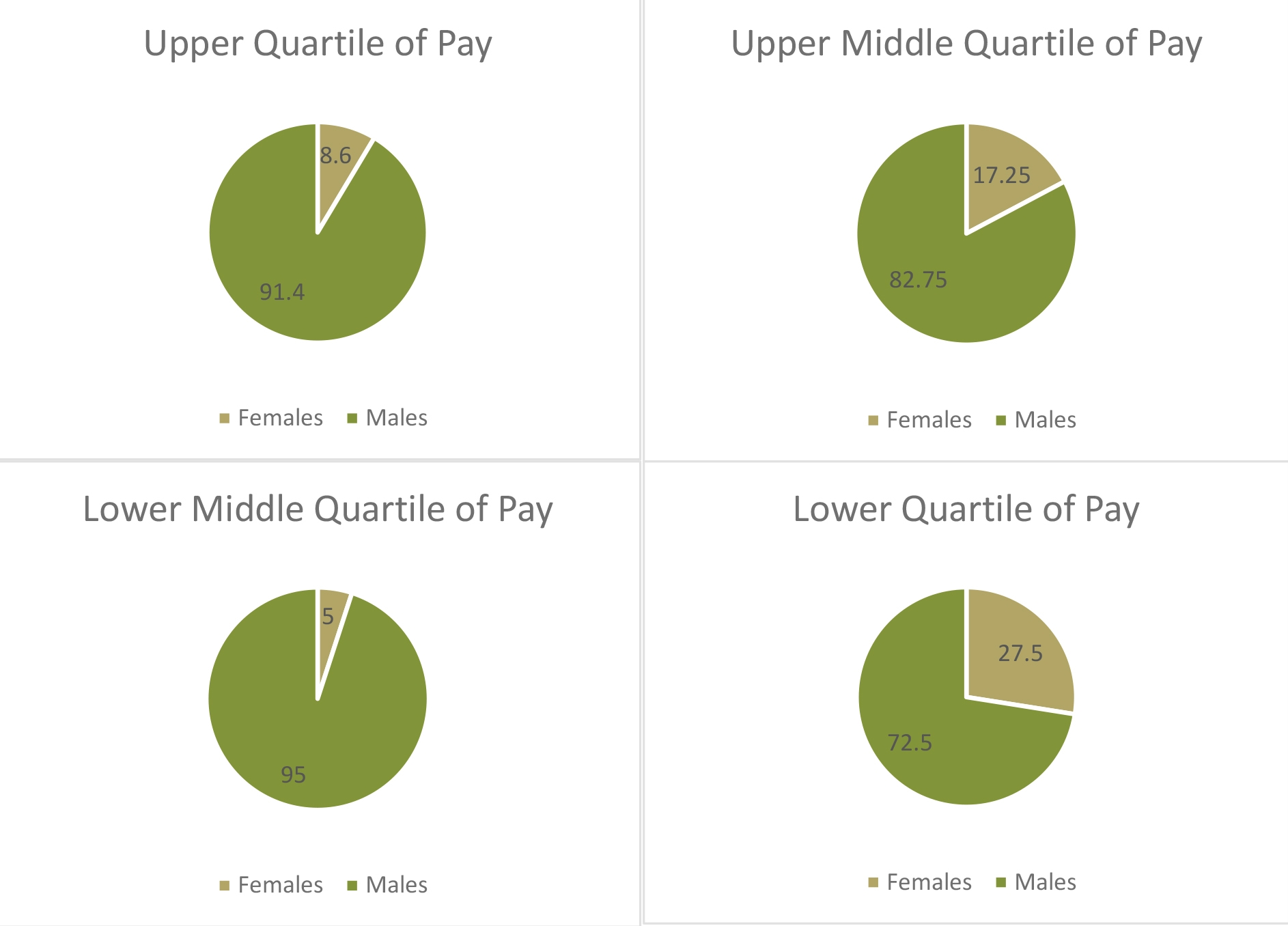 Pie charts showing the proportion of men and women employed in each pay quartile